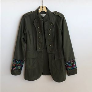 chic embroidered sleeve military inspired jacket
